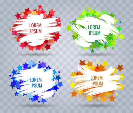 Set of White Paint Brush Banners on colorful stars background. Vector Illustration.