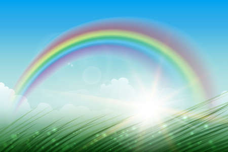Landscape with rainbow in blue sky green grass and sunburst. Vector illustration.