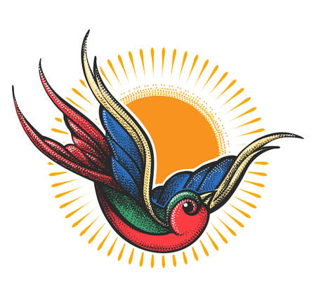Tattoo of flying Swallow and Sunshine.Tattoo in Engraving Style. Vector illustration. Ilustracja