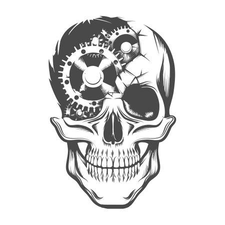 Tattoo of Human Skull with broken Clockwork Gears Inside. Vector illustration. Ilustracja