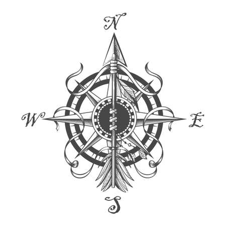 Compass wind Rose and Pointing Indian arrow vintageTattoo. Vector illustration Ilustracja