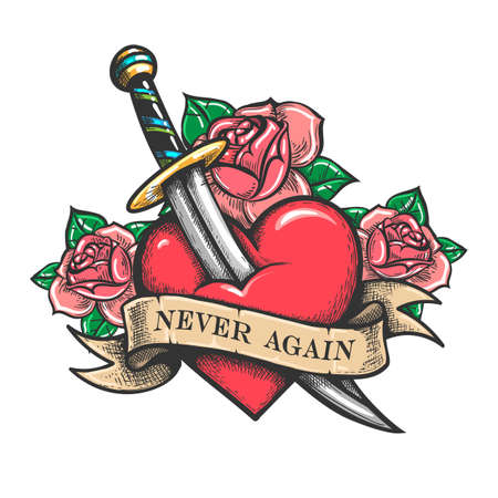 Heart pierced by dagger. Retro tattoo. Heart and ribbon with wording never Again. Vector illustration