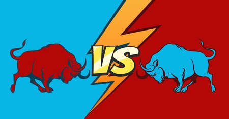 Two fighting bulls and Versus sign. Command battle concept background. vector illustration.