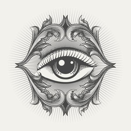 Engraving style tattoo of All Seeing eye masonic symbol. vector illustration.