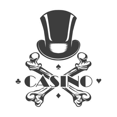 Cylinder Hat and Skeleton Bones with wording Casino. Casino Emblem in tattoo style. vector illustration.