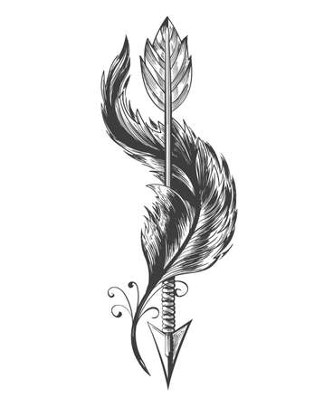 Tattoo of native americans Indian Arrow and flying Bird Feather. vector illustration.