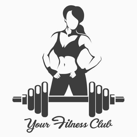 Fitness Emblem with Posing Sporty Woman and dumbbell. Vector illustration. Ilustracja