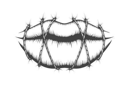 Stitched Lips drawn in Tattoo style. Silence concept. Vector illustration. Ilustracja