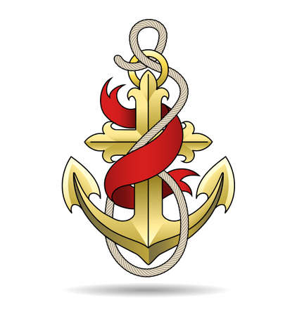 Golden Anchor with Red Ribbon and Ropes. Nautical Marine tattoo Template isolated on white. Vector illustration Ilustracja