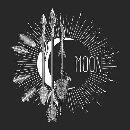 Crescent moon with arrows drawn in boho style. Mystical moon emblem isolated on black. Vector illustration.