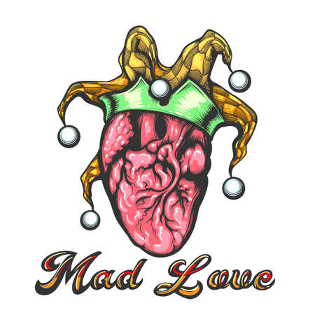 Tattoo of Human Heart with Jester Cap and Wording Mad Love Tattoo drawn in engraving style. Vector illustration.