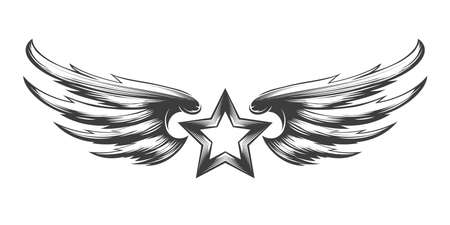 Tatttoo of Star with wings drawn in engraving style. Vector illustration.