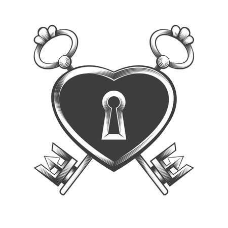 Tattoo of lock with two keys drawn in engraving style. Vector illustration.
