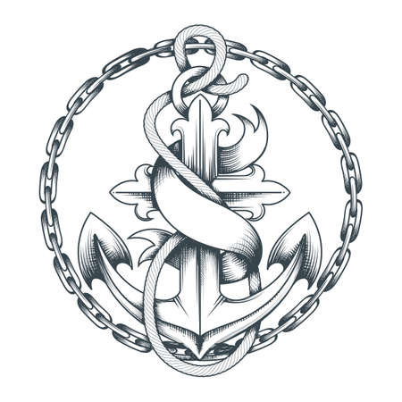 Tattoo of Anchor with ribbon and chains drawn in engraving style. Vector illustration.