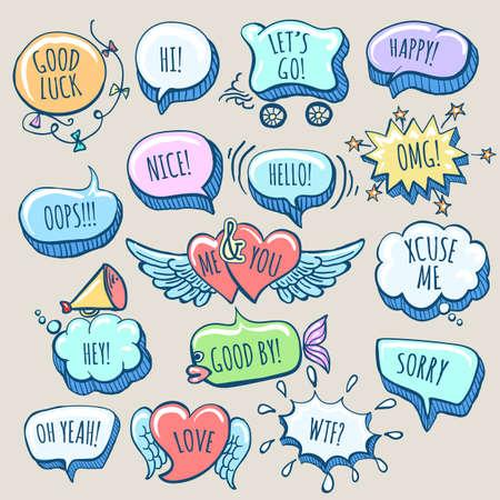 Set of Hand Drawn Doodle Cartoon Speech Bubbles with wordings. Vector illustration. Ilustracja