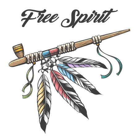 Tattoo of native americans Peace Pipe. Ceremonial smoking pipe calumet with Wording Free Spirit isolated on white. Vector illustration.