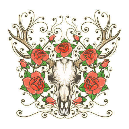 Hand Drawn Deer or Antler Skull With Rose Flowers isolated on white. Bohemian And Hipster style Tattoo. Vector illustration