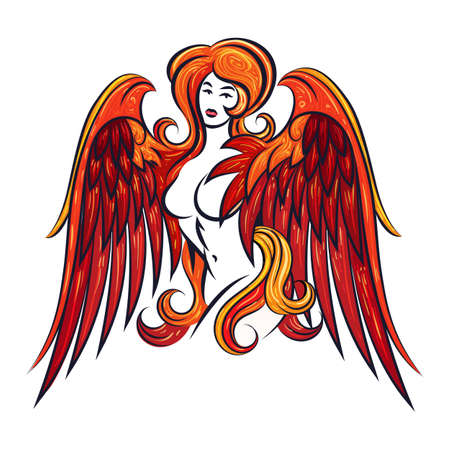 Naked Girl with Red Phoenix Wings drawn inTattoo Style. Vector illustration.