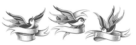 Set of Swallows with ribbon isolated on white.Vintage style for Tattoo design. Vector illustration Ilustracja