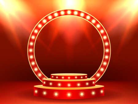 Stage podium with lighting. Stage Podium Scene Award Ceremony on red Background. Vector illustration