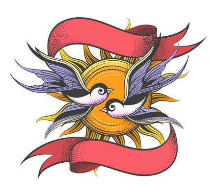 Two Flying Birds against sun and ribbons drawn in tattoo style. Vector illustration.
