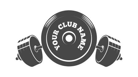 Gym Fitness or Athletic club emblem with barbell weight drawn in engraving style. Vector illustration.