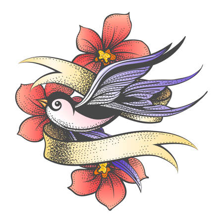 Tattoo of Swallow with Golden Ribbon and Red Flowers isolated on white. Vector illustration. Ilustracja