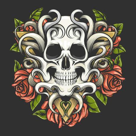 Tattoo of Skull and Rose Flowers on Triangle Shape isolated on black background. Vector Illustration. Ilustracja