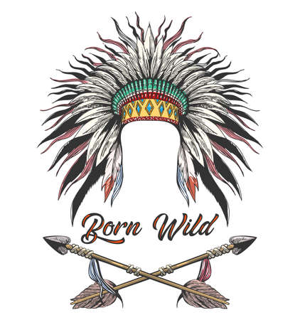 Tattoo of Native American War Bonnet and Two Arrows with Lettering Born Wilde. Vector Illustration.