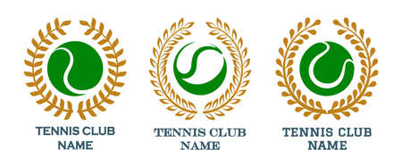 Set of Colorful tennis emblem isolated on white. Vector illustration
