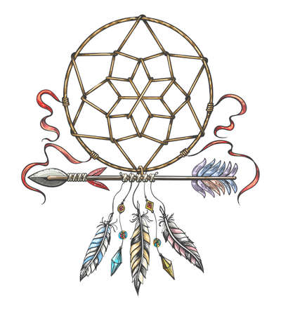 Hand drawn colorful  illustration of dream catcher and indian arrow. Tribal tattoo isolated on white. Vector illustration.
