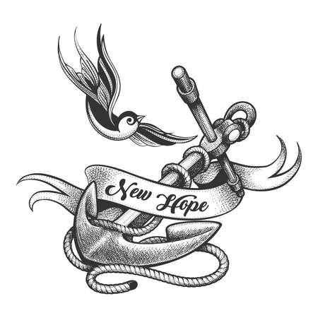 Tattoo of Flying swallow and Anchor with lettering new Hope on ribbon. Vector illustration.
