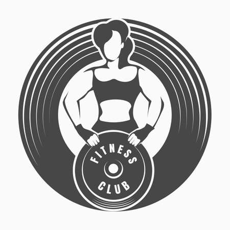 Fitness Logo or Emblem with Woman Holding Barbell Weight isolated on white. Vector illustration.