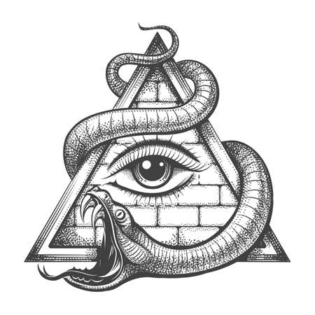 Tattoo of All seeing Eye in Magic Delta Triangle Entwined by Snake of Wisdom. Vector illustration