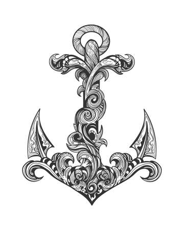 Vintage Ship Anchor made of swirls. Tattoo in engraving Style. Vector illustrtion.