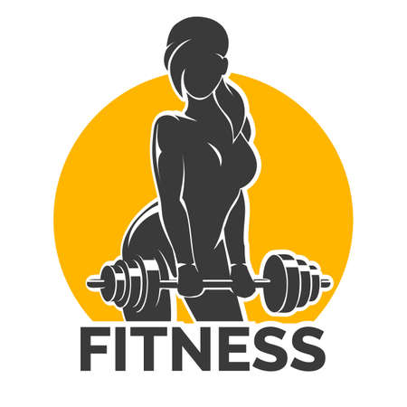 Silhouette of Training Bodybuilder Girl with Barbell. Fitness club Gym emblem. Vector illustration.