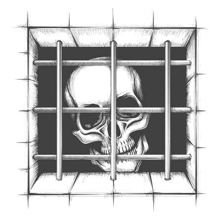 Jail Skull Tattoo in engraving style isolated on white. Vector Illustration. Ilustracja