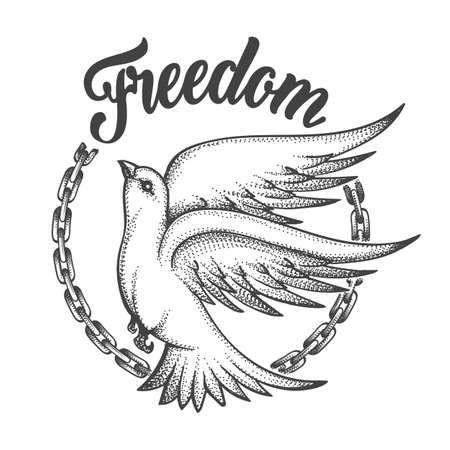 Freedom dove with broken chain and wording Freedom. Freedom concept Tattoo on white background. Vector illustration