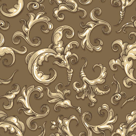 Vintage exquisite floral baroque seamless pattern. Vector illustration.