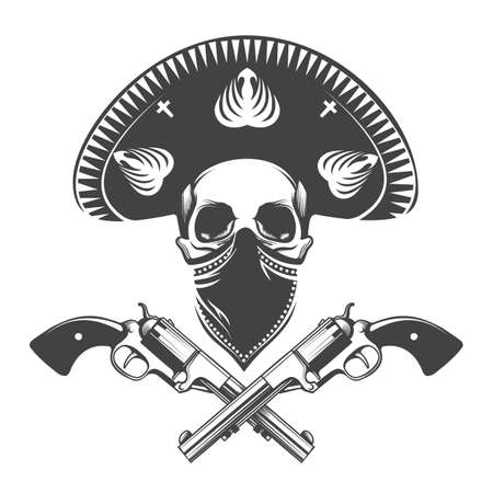 Mexican bandit skull in sombrero hat with two pistols.Tattoo isolated on dark background. Vector illustration. Ilustracja