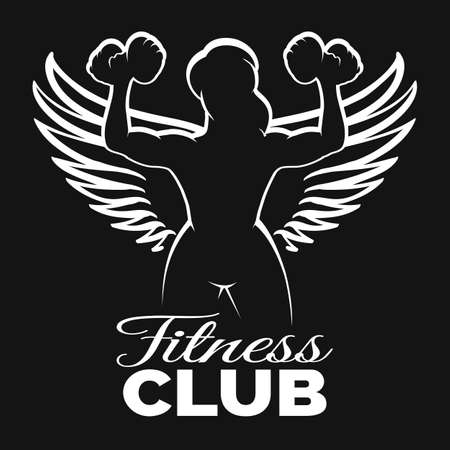 Bodybuilder or Fitness Club Template. Silhouette Athletic Woman with wings Holding Dumbbell. Vector Illustration.