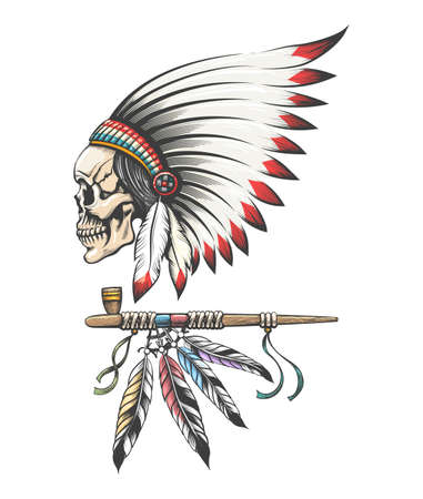 American Indian Chief Skull in Traditional Feathers Headwear and Smoking Pipe. Vector illustration.