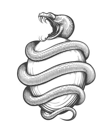Tattoo of Snake and TheOrphic Egg. Ancient cosmogony Orchic religious Tradition Symbol. Vector illustration. Ilustracja