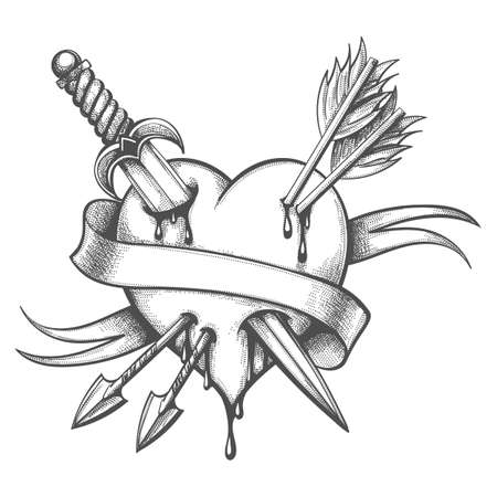 Tattoo of Heart Pierced by Knife and Arrows drawn in engraving style. Vector illustration.