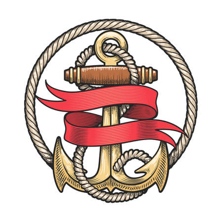Colorful Anchor in Ropes and Red Ribbon. Vector  illustration Ilustracja