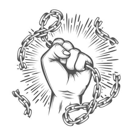 Tattoo of Human Fist with Broken Chain. Feedom concept. Vector illustration. Ilustracja