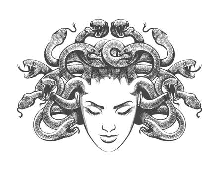 Medusa gorgon with snakes drawn in tattoo style. Vector illustration