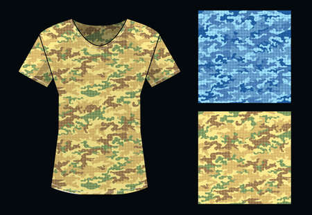 Camouflage seamless pattern in blue and sand colors and shirt template. Vector illustration. Ilustracja
