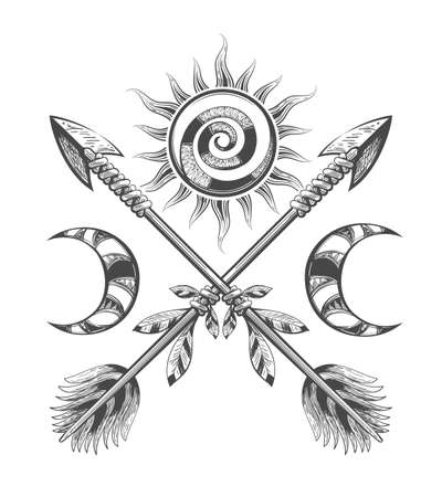 Esoteric Illustration of Sun Moon and Arrows drawn in tattoo style. Vector illustration