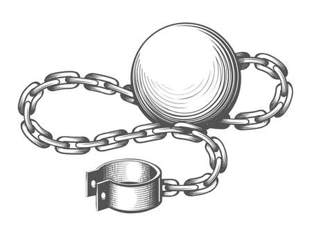 Tattoo of Ball and Chain drawn in Engraving style. Vector Illustration.